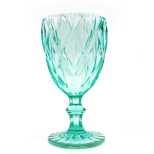 Vintage Glass Goblet - Teal