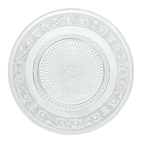 """12.5"""" Fleuri Pattern Clear Glass Charger Plate"""