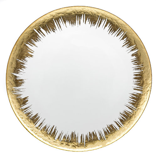"13"" Glass Gold Spray Round Charger Plate"