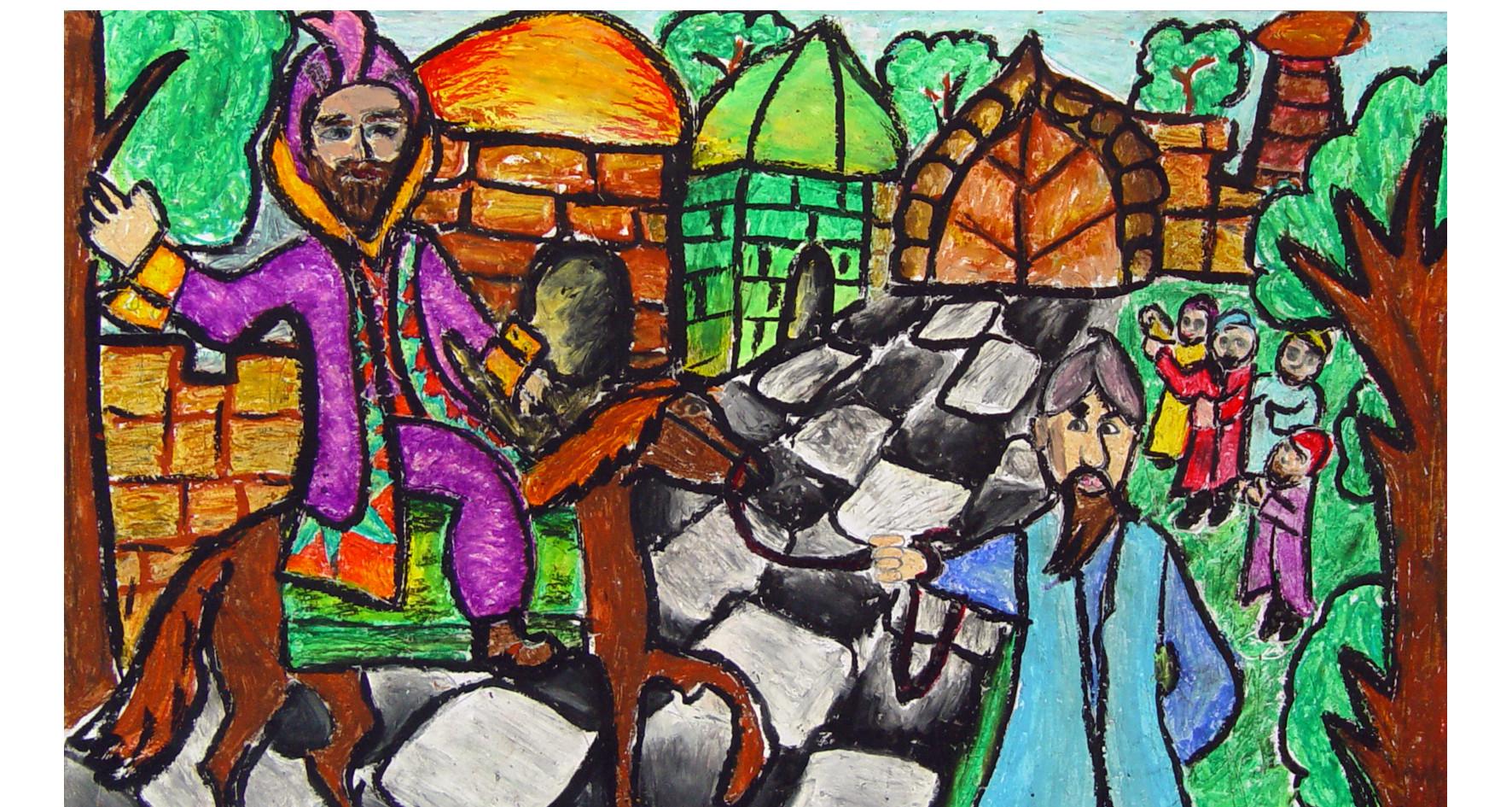 Mordechai rides on the horse