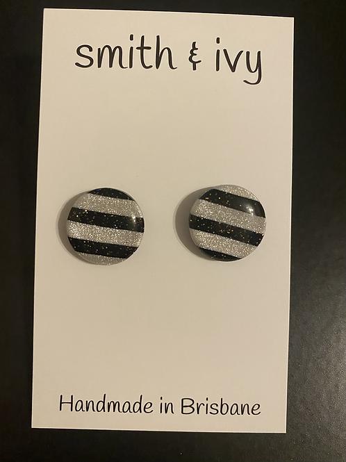 Black and White Stripe Studs