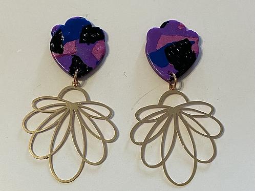 Purple Swirl-rose gold flower