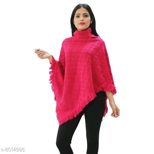 Wonderous Women's Woolen Collar Poncho - Pink