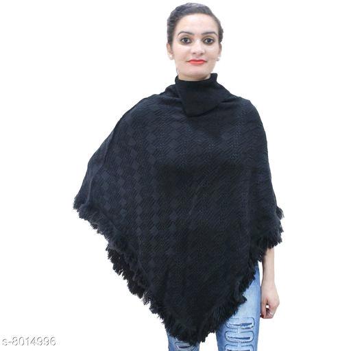 Wonderous Women's Woolen Collar Poncho -Black