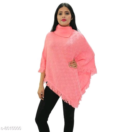 Wonderous Women's Woolen Collar Poncho -Peach
