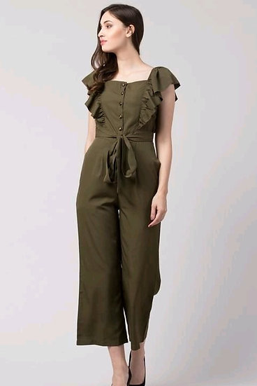 Wondrous Premium Solid Women's Jumpsuit - Olive Green