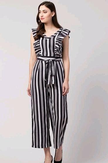 Wondrous Premium Striped Women's Jumpsuit - B & W