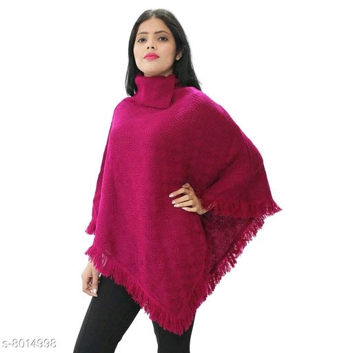 Wonderous Women's Woolen Collar Poncho - Purple