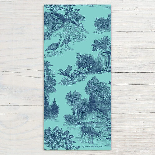 Navy-Teal Toile Bookmark
