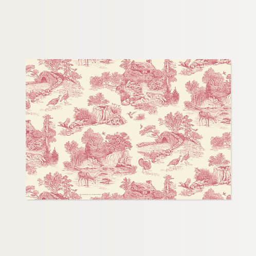 Vintage Pink Toile Paper Placemats