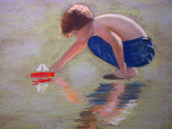 Boy at Beach with red boat: Pastel