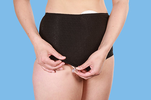 Black 3 Pack Full Brief Ostomy Underwear High Waisted Womens