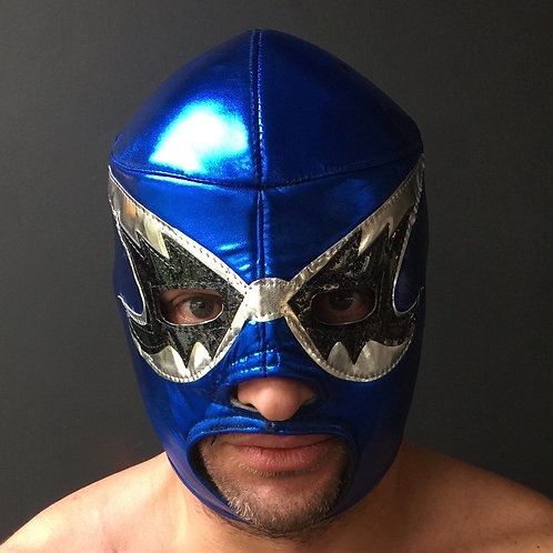 Wrestling Mask - Blue/Silver/Black