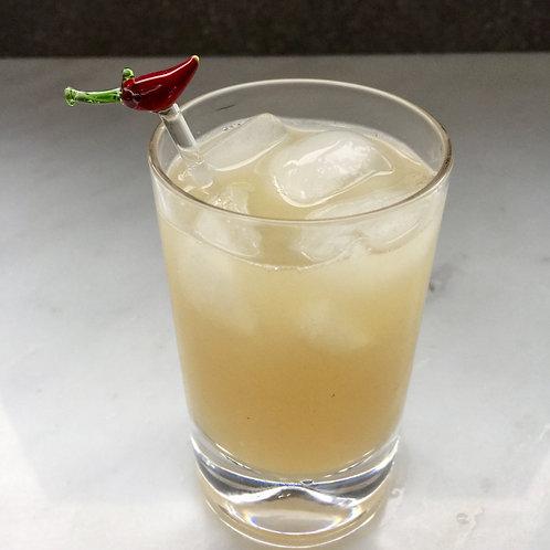 Set of 6 Short Glass Stirrers - Chilli