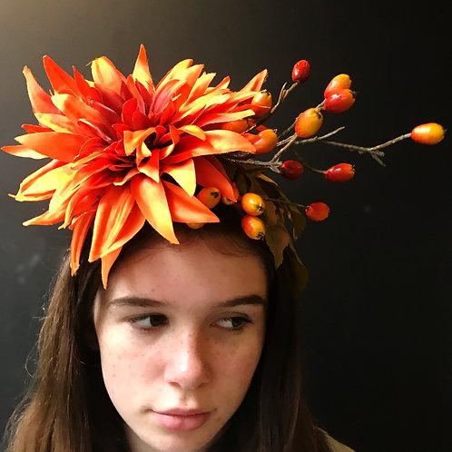 Frida headband - Rusty Dahlia & Rose Hip Spray