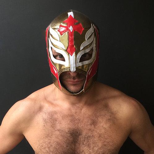 Wrestling Mask - Gold/White/Red