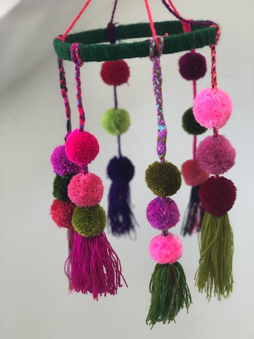 Pom Pom Mobile - Green & Pink