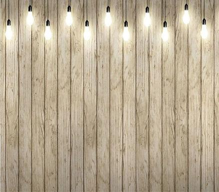 Bare Light Bulbs - Wooden Wall