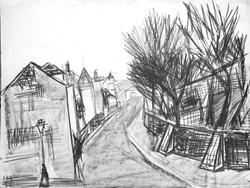 #278 – Rue de l'abreuvoir – fusain – 50x