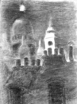 #270 – La nuit sur Montmartre – fusain –