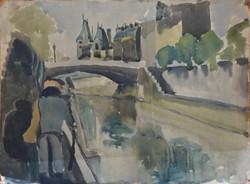 #268 - Promeneur - aquarelle - 64x50
