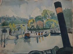 #269 - Bords de Seine - gouache - 50x64