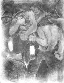 #275 – Les mineurs – fusain – 64x50