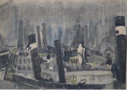 #274 – Le port – encre et fusain – 54x40