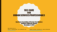 Self-care for Human Services Professiona