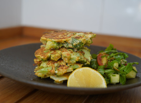 Broccoli Fritters with a caper fresh salad