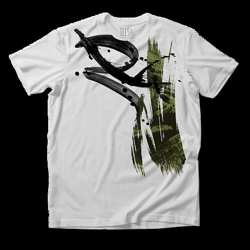 T- Shirt , Abstract camo green