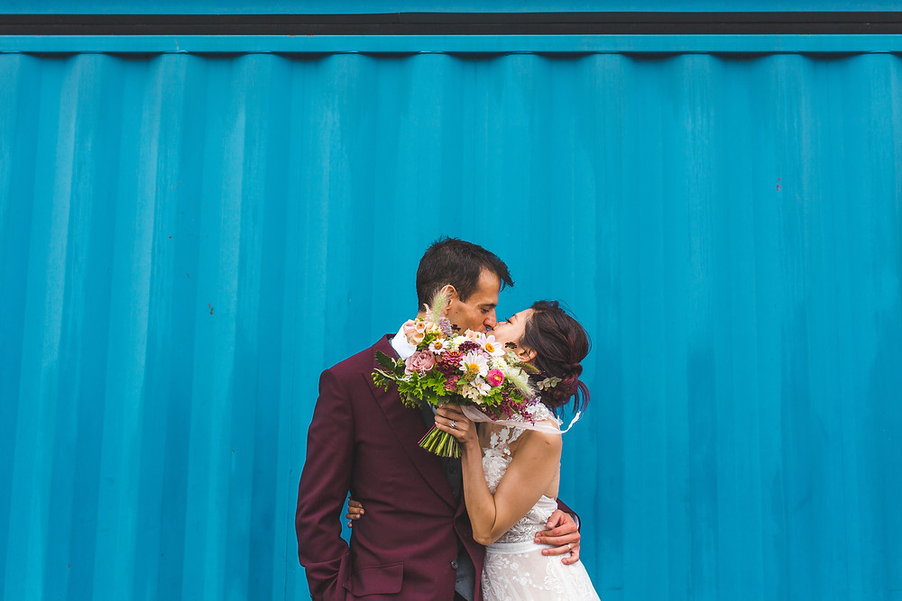 Summer Wedding Flowers, Trinity Buoy Wharf, London