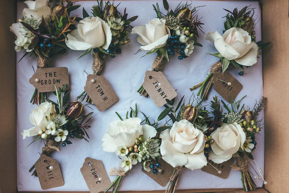Natural Buttonholes, Hampton Court House Wedding, Richmond, Surrey