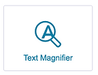 Text magnifier symbol