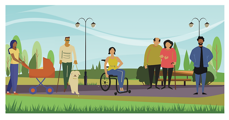 Group of diverse people with disabilities and/or chronic illness.
