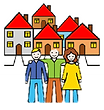 People standing together in front of houses in the community.