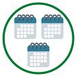 Three calendars in a green circle.