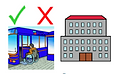 Person in wheelchair accessing public transport. A tick and cross above the bus questioning if it is accessible or not.