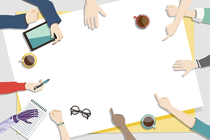Ilustration of a diverse range of hands surround a large paper making notes and pointing.