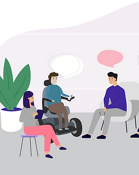 Group of people in a meeting talking.