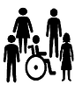 Shillouttes of People with and without disabilities.