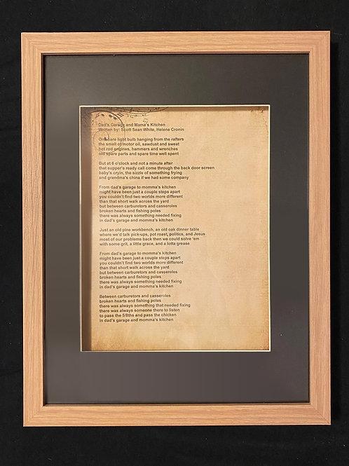 12'x15' Dad's Garage and Mama's Kitchen Lyrics Shadowbox signed when shipped!