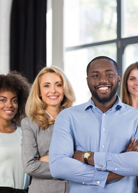 African American Businessman Boss With Group Of Business People In Creative Office, Succes