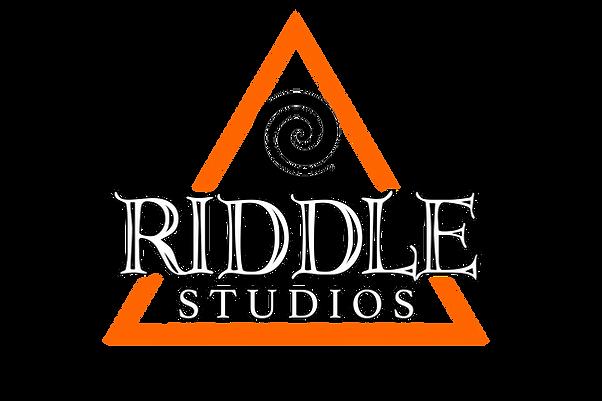 Riddle Studios watermark logo orange tri