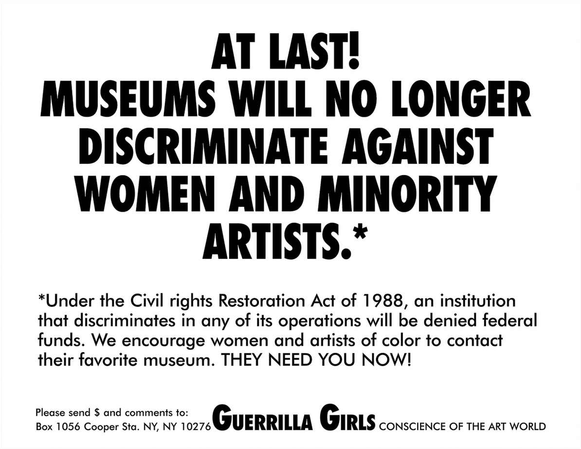 At last! Museums will no longer discriminate against women and minority