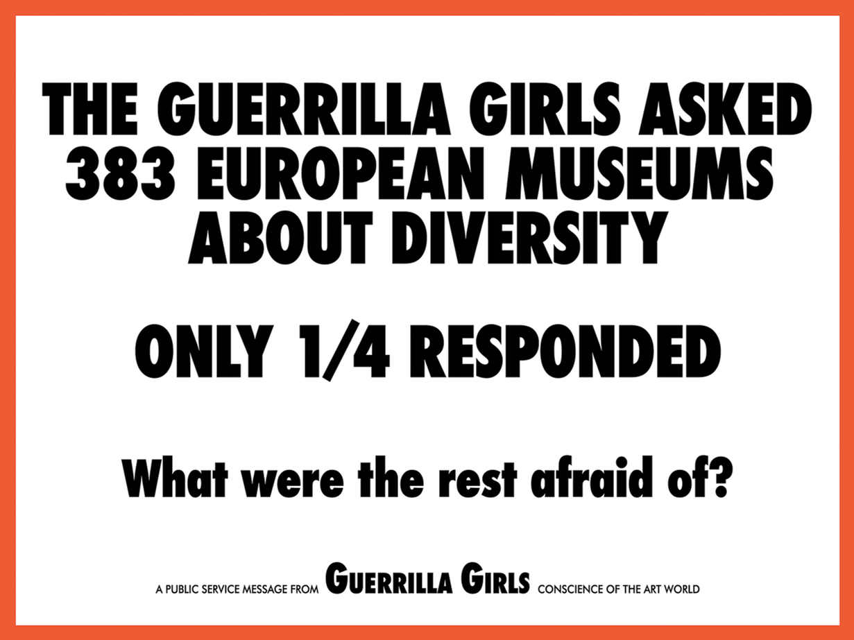 The Guerrilla Girls asked 383 European museums about diversity
