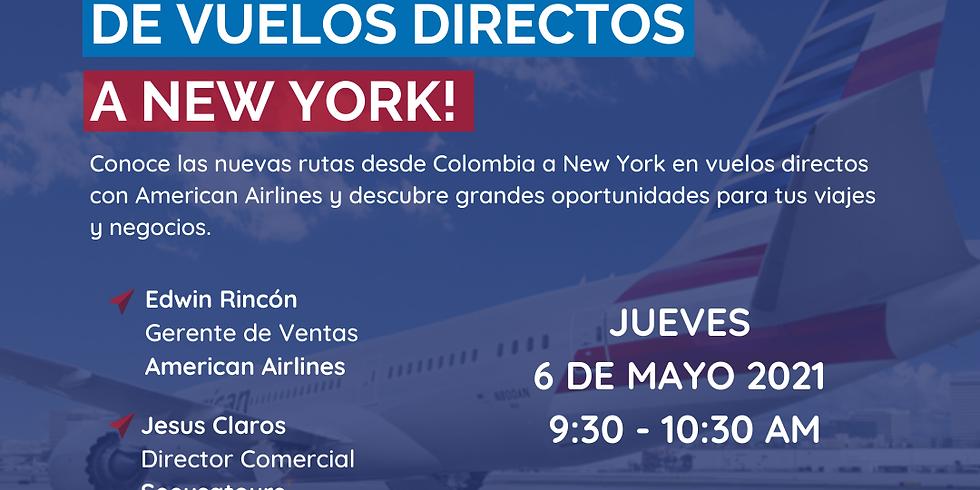 Celebración de vuelos directos a New York