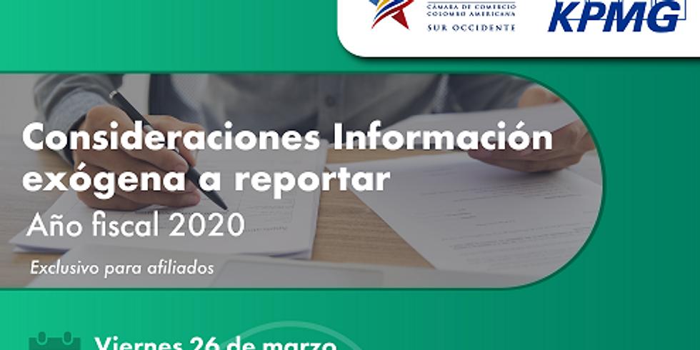 Comité Tributario: Consideraciones información exógena a reportar - Año fiscal 2020