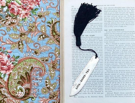 Cats - Books - Tea Bookmark