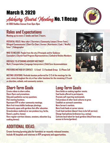 March 9th Advisory Board Meeting